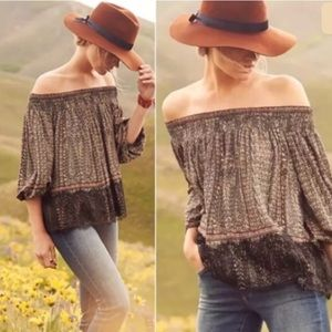 Anthro, Black Print Off Shoulder Lace Blouse